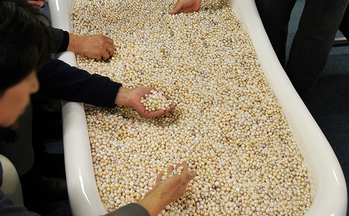 The bathtub filled with real pearls